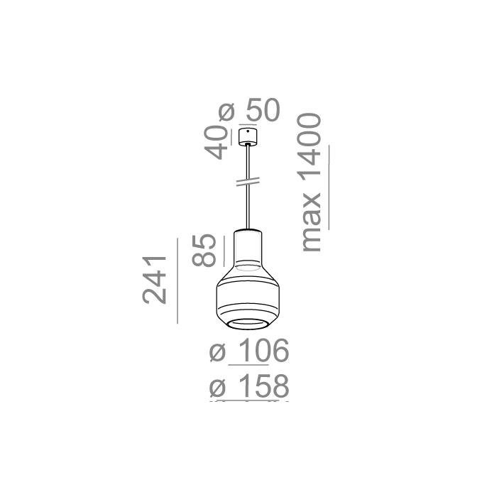 MODERN GLASS Barrel TR E27 fi50 zwieszany