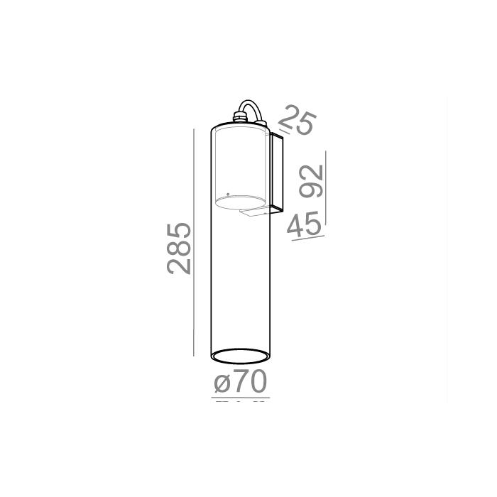 MODERN GLASS Tube TP LED 230V hermetic wall