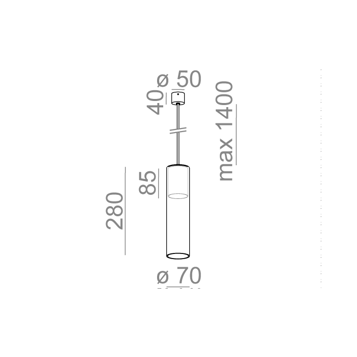 MODERN GLASS Tube WP E27 fi50 zwieszany
