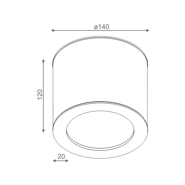 ONLY round 12 LED 230V hermetic natynkowy