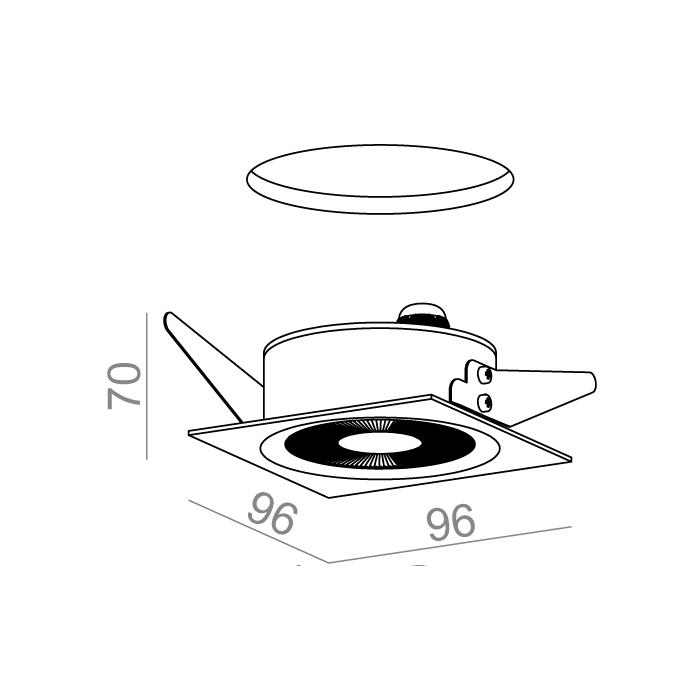 ONLY square mini LED 230V hermetic wpuszczany