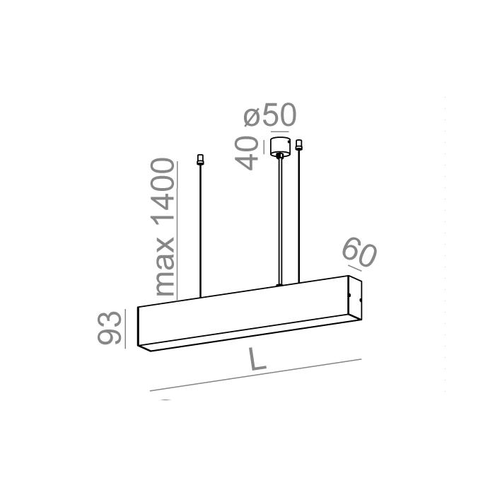 SET TRU 170 LED hermetic zwieszany