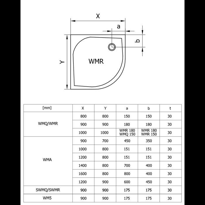 Brodzik  MARBLEMATE WMR R:550 900X900 BIAŁY