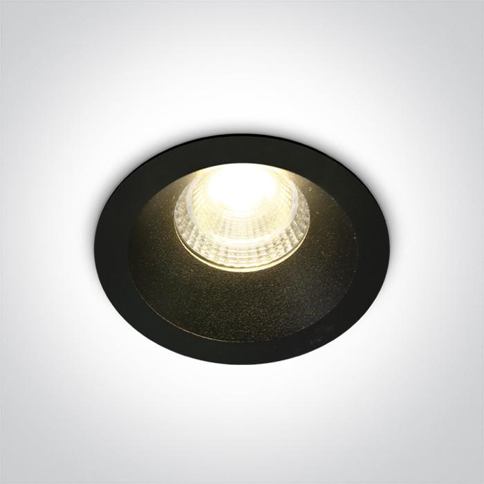 10107DC/B/W czarny wpust COB LED 3000K 7W dark light nieściemnialny zasilacz LED w zestawie