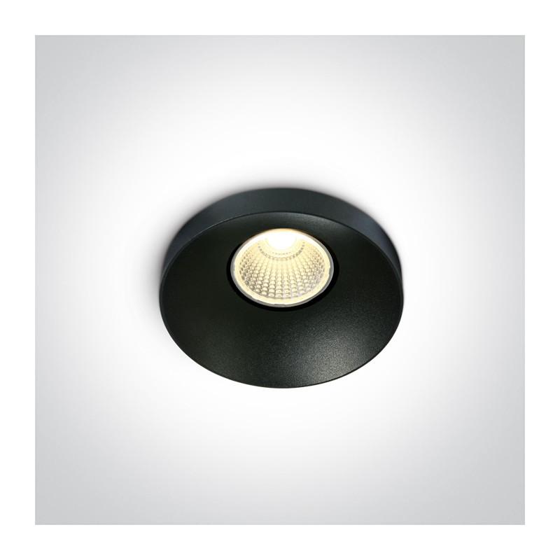 10108R/B/W czarny wpust COB LED 3000K 8W nieściemnialny zasilacz LED w komplecie