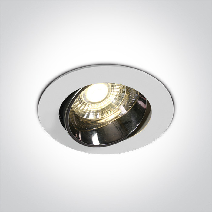 11110E/W/W biały wpust z odbłyśnikiem ciemny chrom COB LED 3000K 10W nieściemnialny zasilacz LED w zestawie