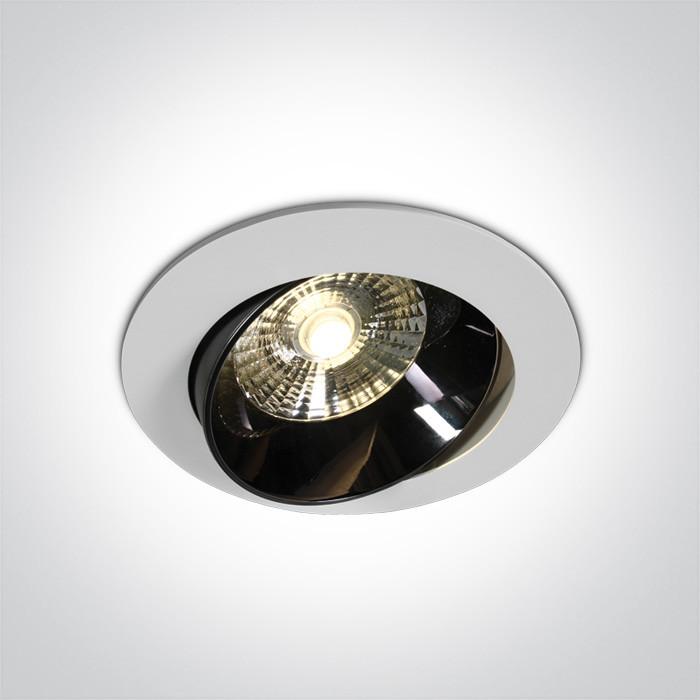 11120E/W/W biały wpust z odbłyśnikiem ciemny chrom COB LED 3000K 20W nieściemnialny zasilacz LED w zestawie
