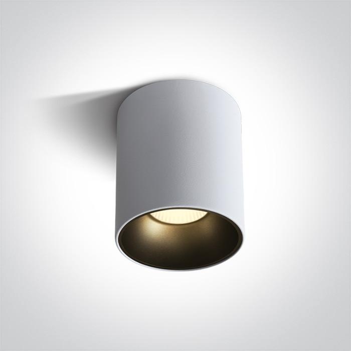 12130Z/W/W biały cylinder COB LED 3000K 30W + czarny & mosiężny odbłyśnik w komplecie nieściemnialny zasilacz LED w zestawie