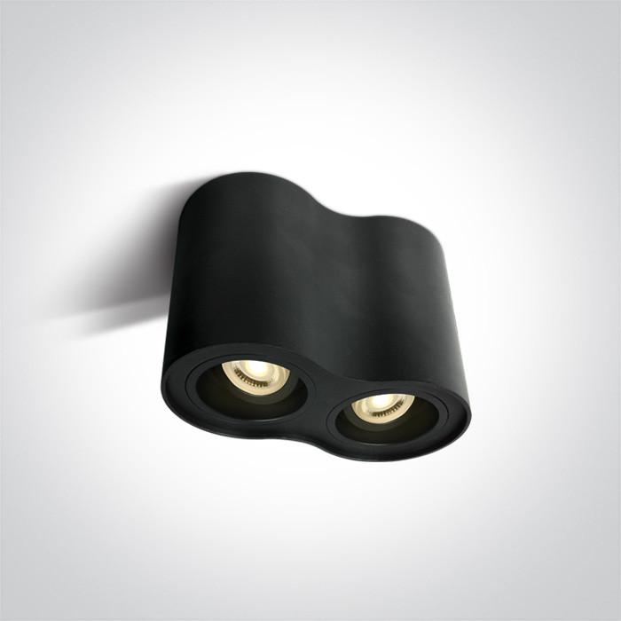 12205Y/B czarna oprawa sufitowa z oprawką GU10 MR16 2x10W