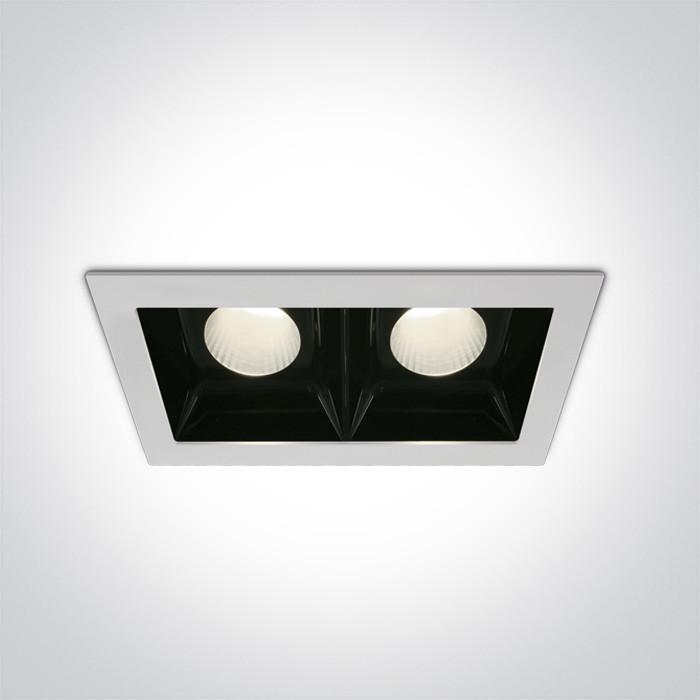 50220B/W/C biały downlight LED 4000K 2x20W nieściemnialny zasilacz LED 500mA w zestawie