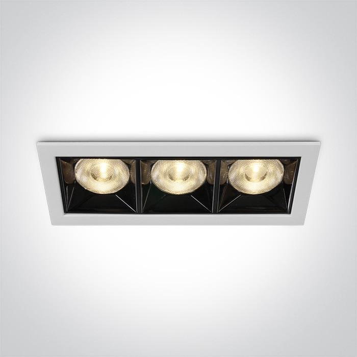 50306B/W/W biały wpust z odbłyśnikiem ciemny chrom COB LED 3000K 12W nieściemnialny zasilacz LED w zestawie