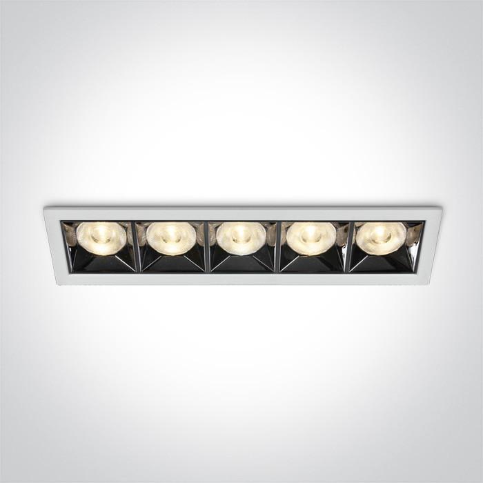 50506B/W/W biały wpust z odbłyśnikiem ciemny chrom COB LED 3000K 20W nieściemnialny zasilacz LED w zestawie