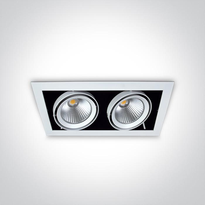 51220/W/C biała wpuszczana oprawa typu downlight COB LED 4000K 2x20W nieściemnialny zasilacz LED w zestawie