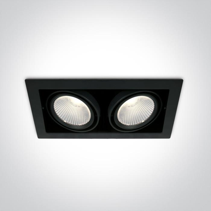 51230/B/C czarny wpuszczany downlight COB LED 4000K 2x30W nieściemnialny zasilacz LED w komplecie