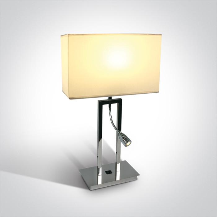 61044A/C/W chromowana lampa stołowa z białym abażurem 3000K 3W LED + 40W E27 zasilacz w zestawie