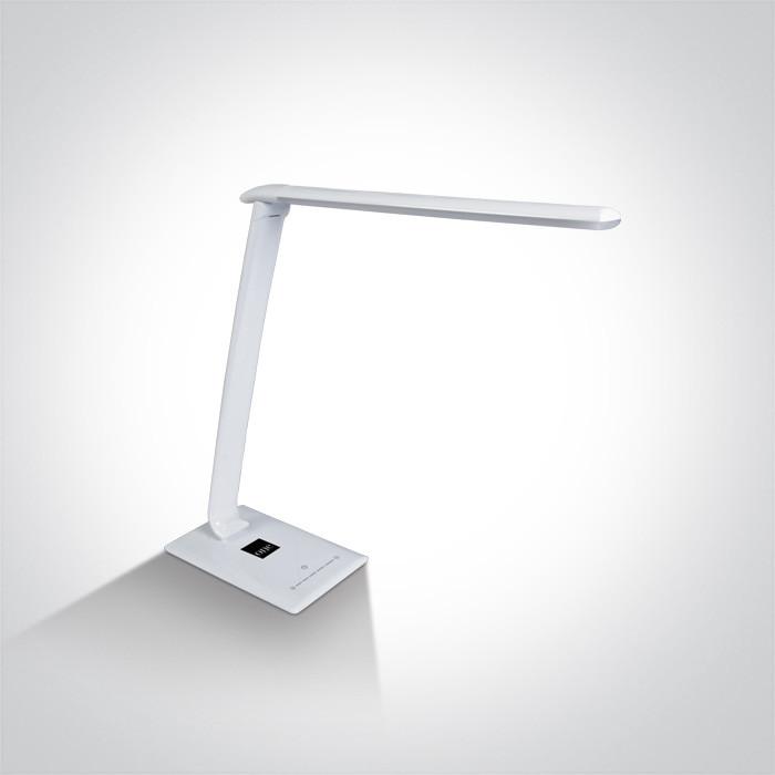 61068/C biała lampa biurkowa z gniazdem USB oraz 5-stopniową regulacją barwy światła 3000K-6000K 15W