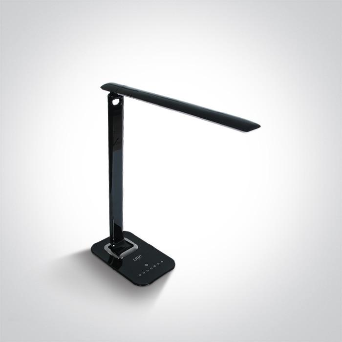 61068B/C czarna lampa biurkowa z gniazdem USB oraz 7-stopniową regulacją ściemniania 4000K 12W