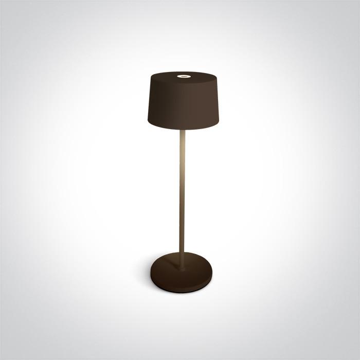 61082A/BR stołowa lampa bezprzewodowa w kolorze rdzawo-brązowym LED 3,3W 3000K IP65 DIMM czas ładowania 6h czas pracy 9h
