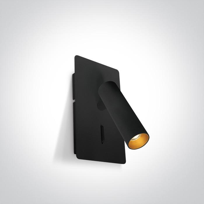 65742/B/W czarna przyłóżkowa oprawa COB LED 3000K 3W  z USB i przełącznikiem zasilacz w zestawie