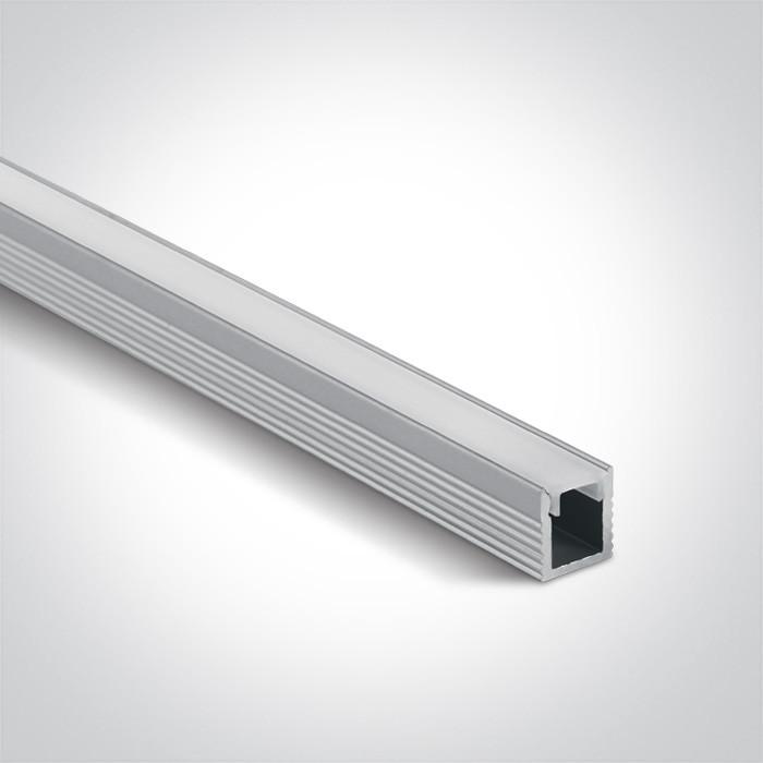 7901/AL  profil aluminiowy Slim Surface 2m z mlecznym kloszem PC w komplecie 2 zaślepki i 6 klipsów mocujących, nadaje się do  7