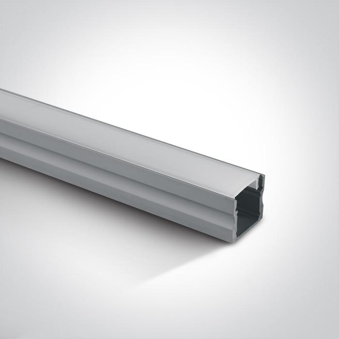 7904/AL profil aluminiowy Surface 2m z mlecznym kloszem PC w komplecie 2 zaślepki i 6 klipsów mocujących, nadaje się do  7820, 7