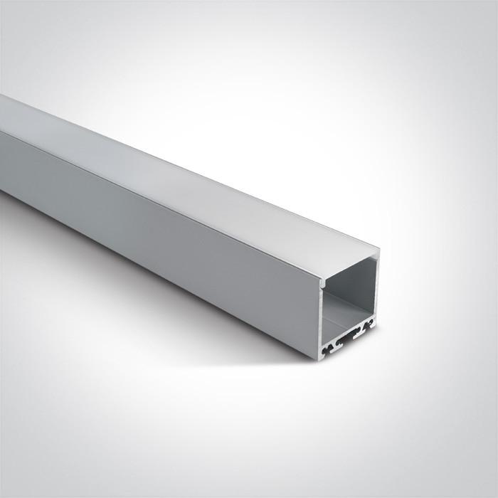 7912/AL profil aluminiowy Surface 2m z mlecznym kloszem PC w komplecie 2 zaślepki, nadaje się do 7825, 7845, 7870, 7880, 7882, 7
